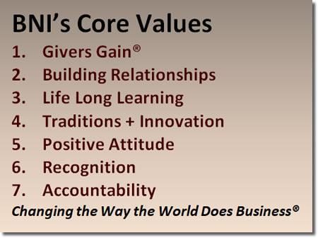 BNI Sacramento California Central Valley Core Values